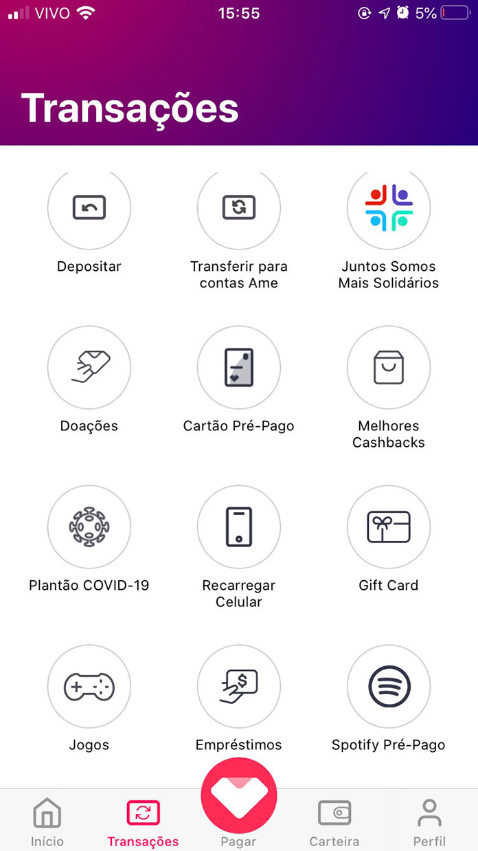 Serviços disponibilizados no App Ame Digital 01