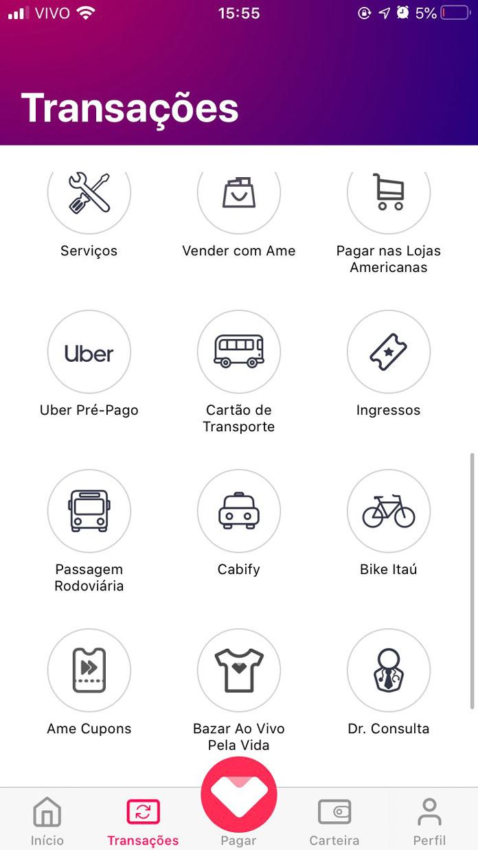 Serviços disponibilizados no App Ame Digital 02